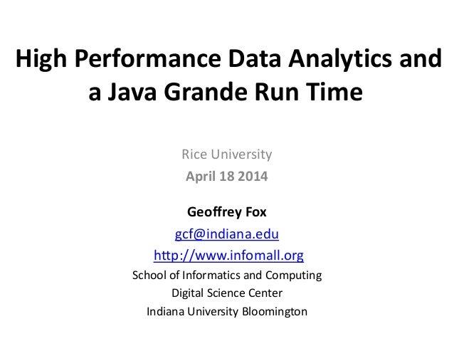 High Performance Data Analytics and a Java Grande Run Time