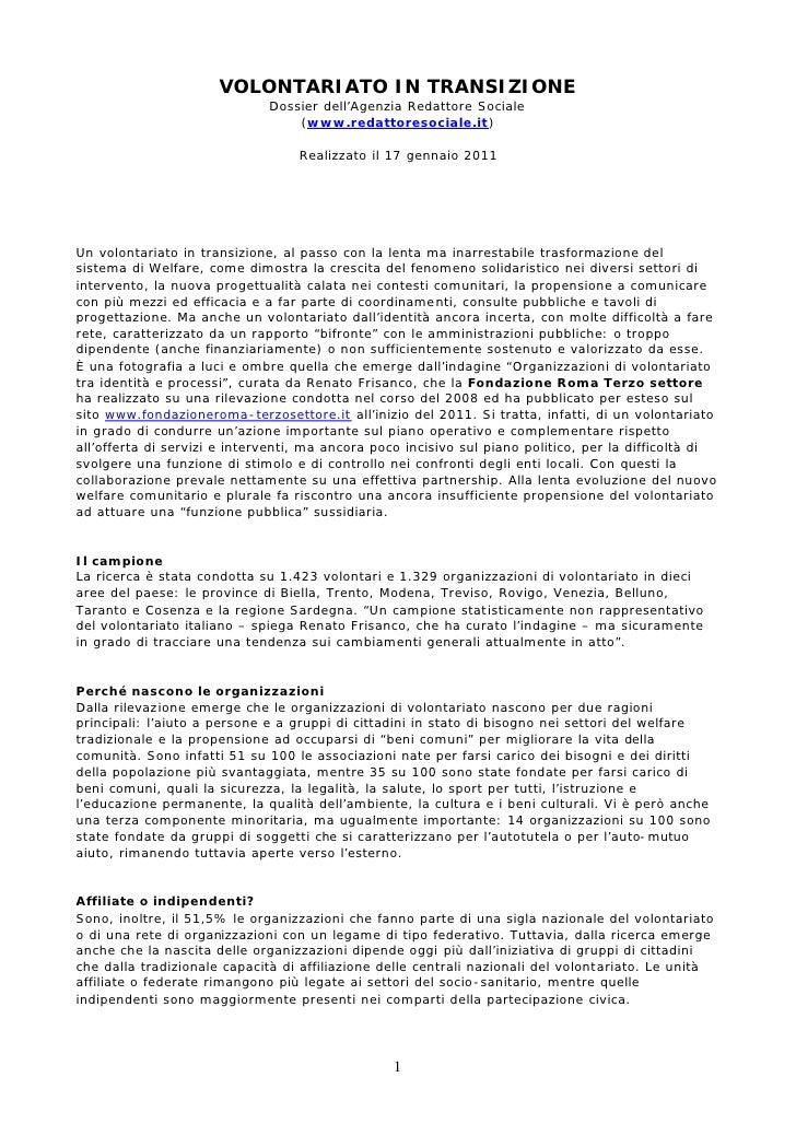 VOLONTARIATO IN TRANSIZIONE                              Dossier dell'Agenzia Redattore Sociale                           ...