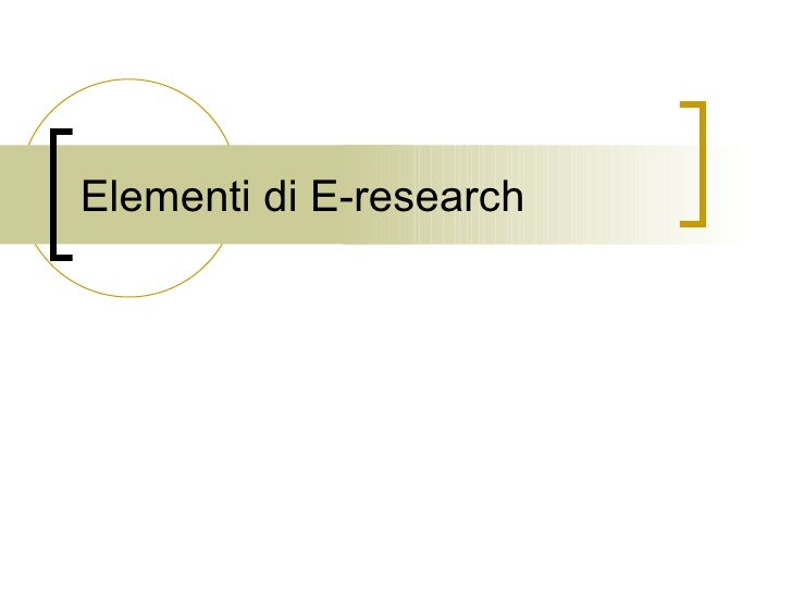Elementi di E-research