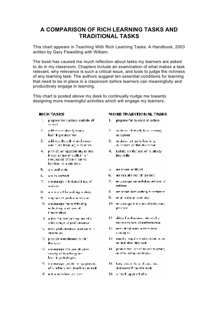 Rich Learning Tasks