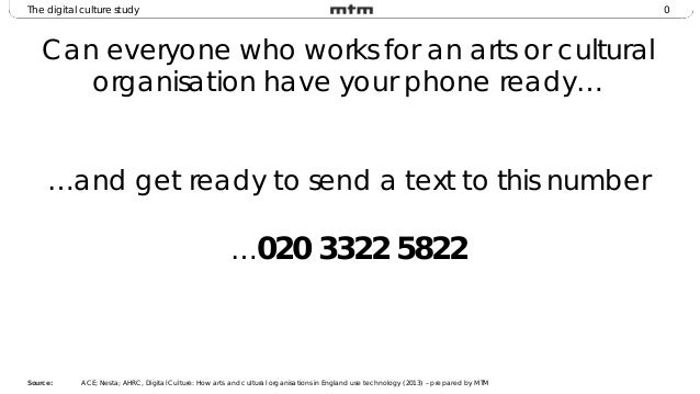 0The digital culture study Can everyone who works for an arts or cultural organisation have your phone ready… …and get rea...