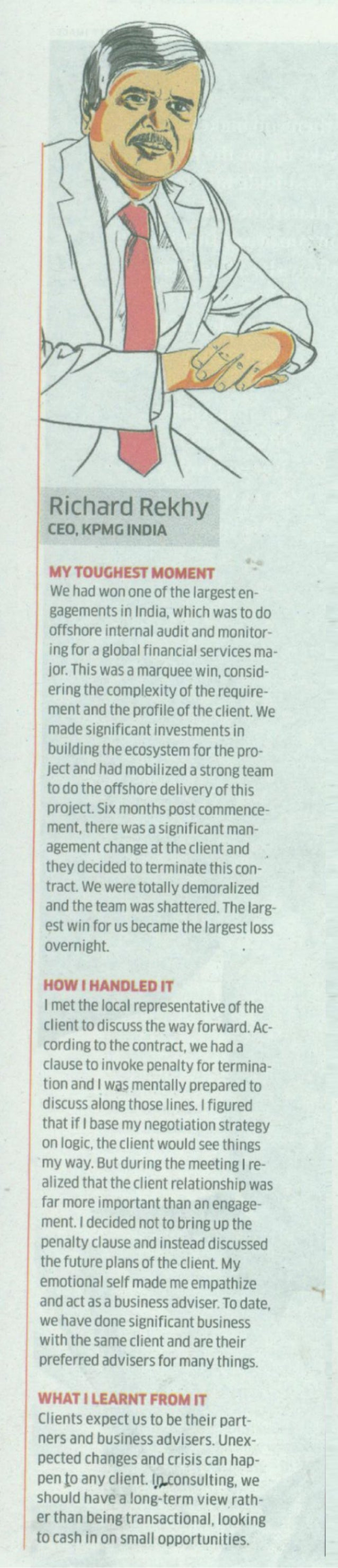 Richard Rekhy, CEO, KPMG in India in The Economic Times