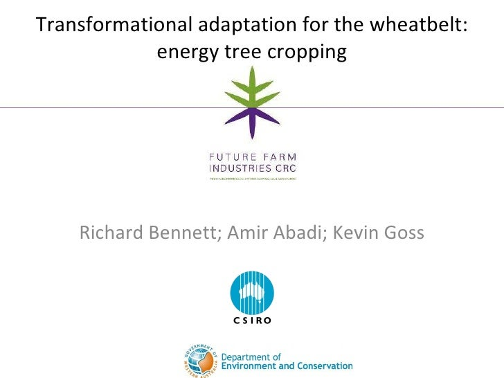 Richard Bennett; Amir Abadi; Kevin Goss Transformational adaptation for the wheatbelt: energy tree cropping