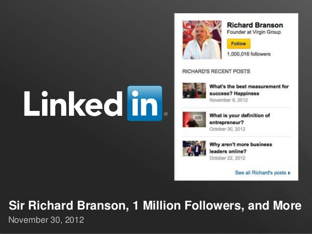 Sir Richard Branson, 1 Million Followers, and MoreNovember 30, 2012