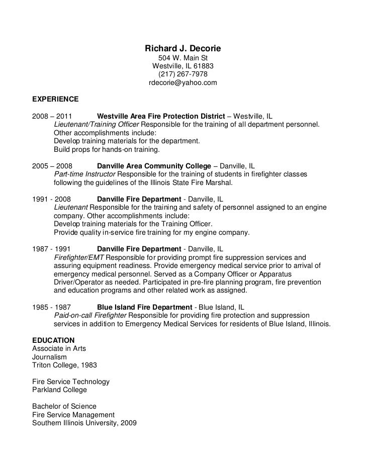 firefighter resume objective sample firefighter resume