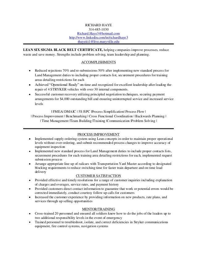 lss black belt resume