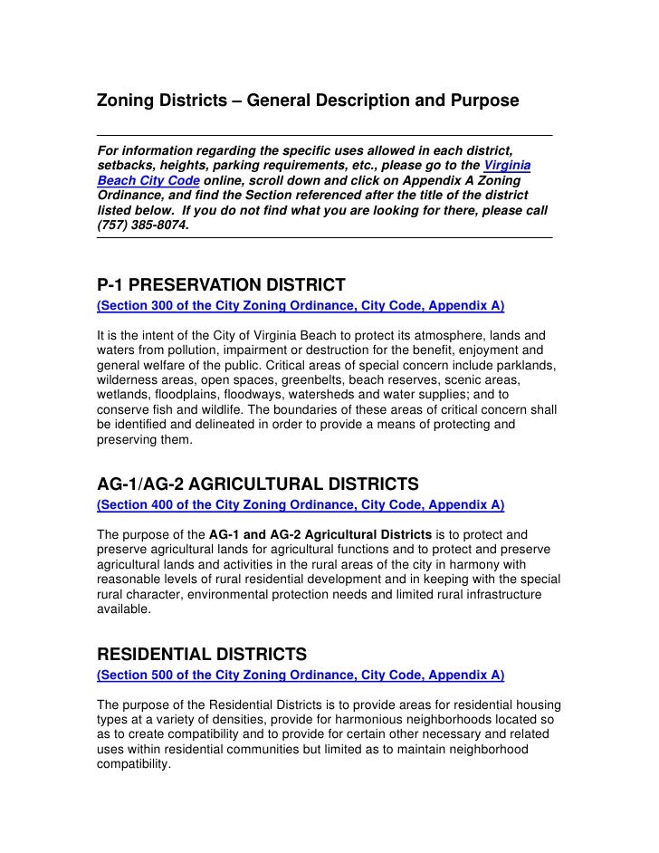Zoning Districts – General Description and Purpose  For information regarding the specific uses allowed in each district, ...