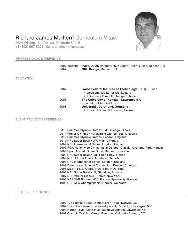 Richard James Mulhern Curriculum Vitae 3624 Williams St | Denver, Colorado 80205 +1 (303) 667-8226 | richardmulhern@gmail....
