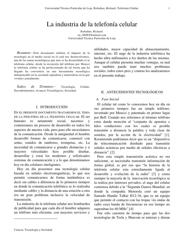 Universidad Técnica Particular de Loja. Robalino, Richard. Telefonía Celular.                 1                           ...