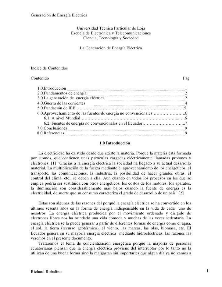 Generación de Energía Eléctrica                          Universidad Técnica Particular de Loja                       Escu...