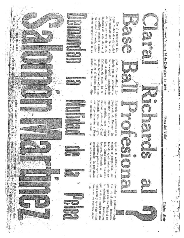 Richards   claral richards al baseball profesional ecos del valle  dic 1960