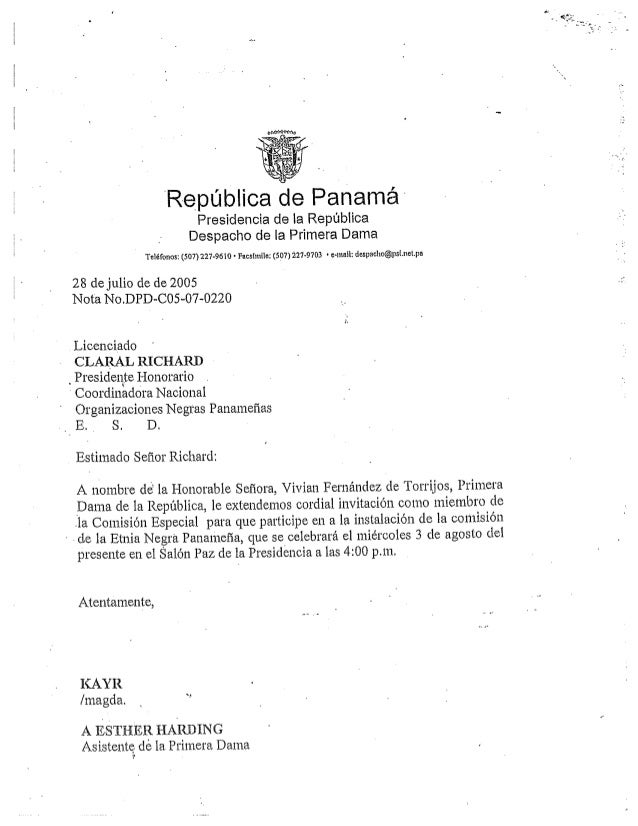 Richards   invitiation letter from panamanian 1st lady to c richards 2005