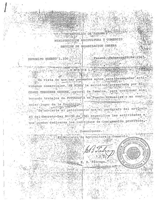 Richards letter from min of agriculture denying jamaican immigrant based on law 38 1943