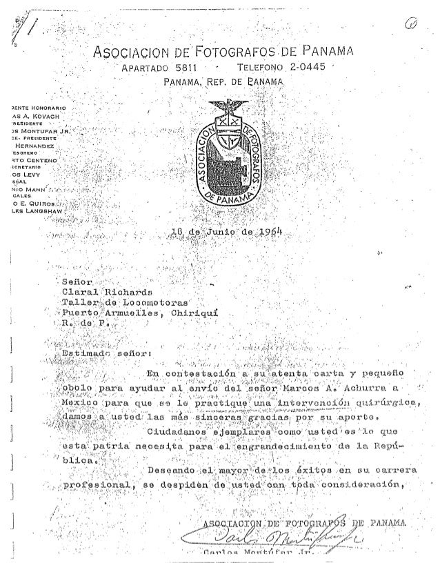 Richards letter of recognition from assoc of photographers of panama may 1964