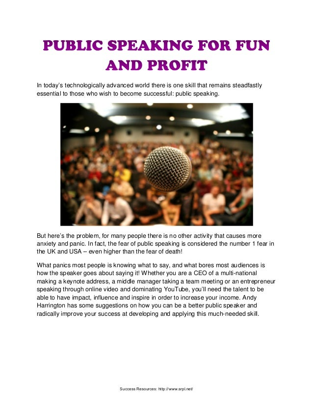 Public Speaking For Fun And Profit | Richard Tan Success Resources Scam