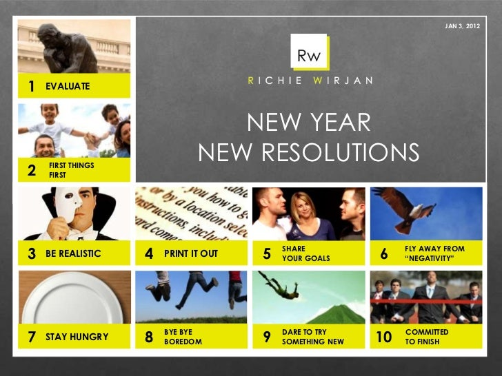 NEW YEAR NEW RESOLUTIONS JAN 3, 2012 EVALUATE FIRST THINGS FIRST BE REALISTIC PRINT IT OUT SHARE  YOUR GOALS FLY AWAY FROM...