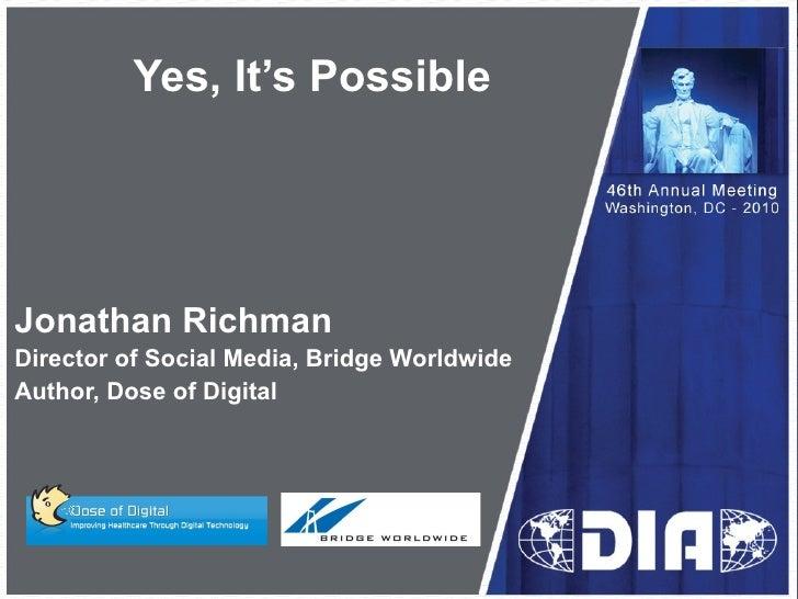 Pharma Social Media...Yes, It's Possible
