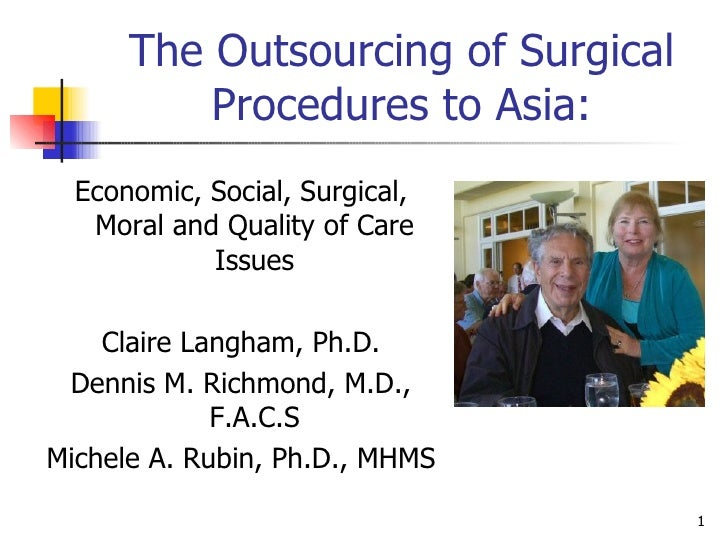 The Outsourcing of Surgical Procedures to Asia: <ul><li>Economic, Social, Surgical, Moral and Quality of Care Issues </li>...