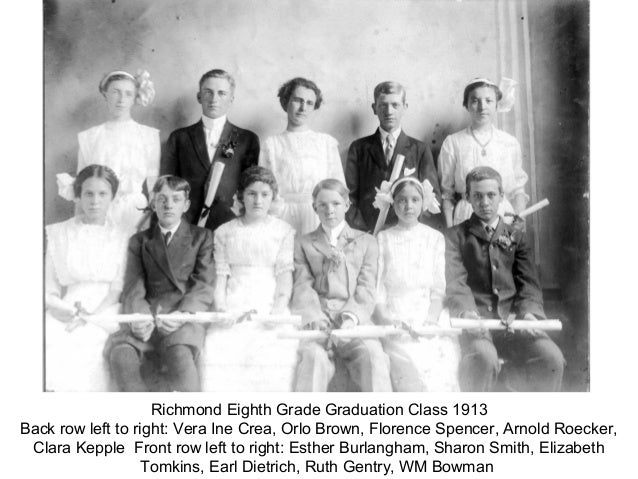 Richmond Eighth Grade Graduation Class 1913Back row left to right: Vera Ine Crea, Orlo Brown, Florence Spencer, Arnold Roe...