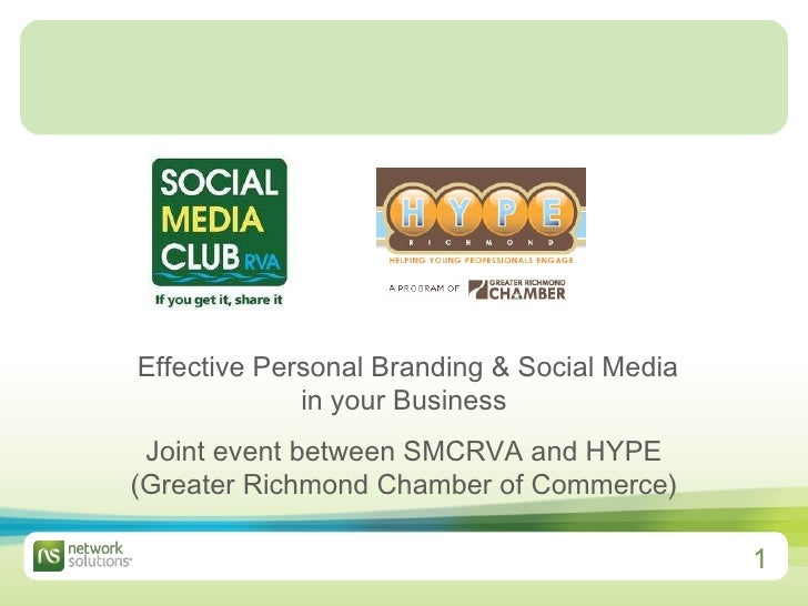 Effective Personal Branding & Social Media in your Business Joint event between SMCRVA and HYPE (Greater Richmond Chamber...