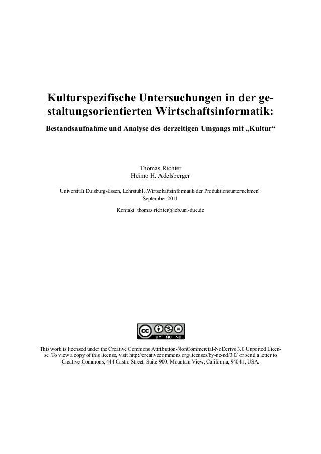 Kulturspezifische Untersuchungen in der ge-staltungsorientierten  Wirtschaftsinformatik:  Bestandsaufnahme und Analyse des...