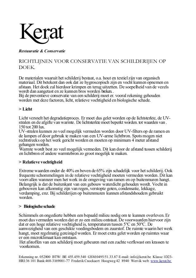 Richtlijnen voor conservatie van schilderijen op doek