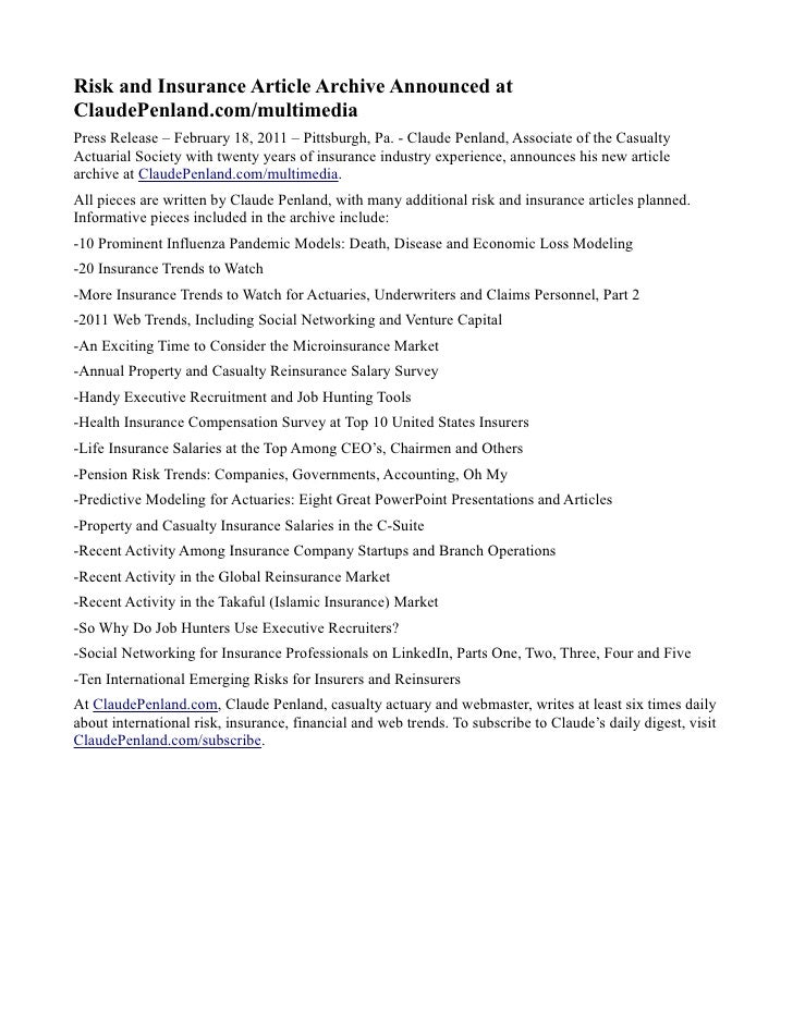 Risk and insurance article archive press release