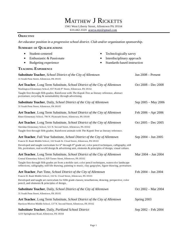 Exceptional Teacher Assistant Resume Samples VisualCV Resume Samples Database Resume  Examples Preschool Teacher Resume Objective Exampl Objective On Long Term Substitute Teacher Resume