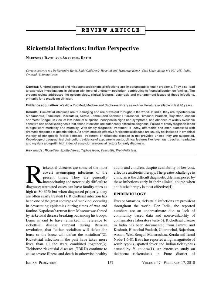 REVIEW ARTICLERickettsial Infections: Indian PerspectiveNARENDRA RATHI AND AKANKSHA RATHICorrespondence to : Dr Narendra R...