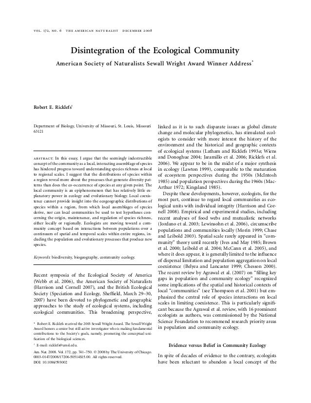 vol. 172, no. 6 the american naturalist december 2008Disintegration of the Ecological CommunityAmerican Society of Natural...