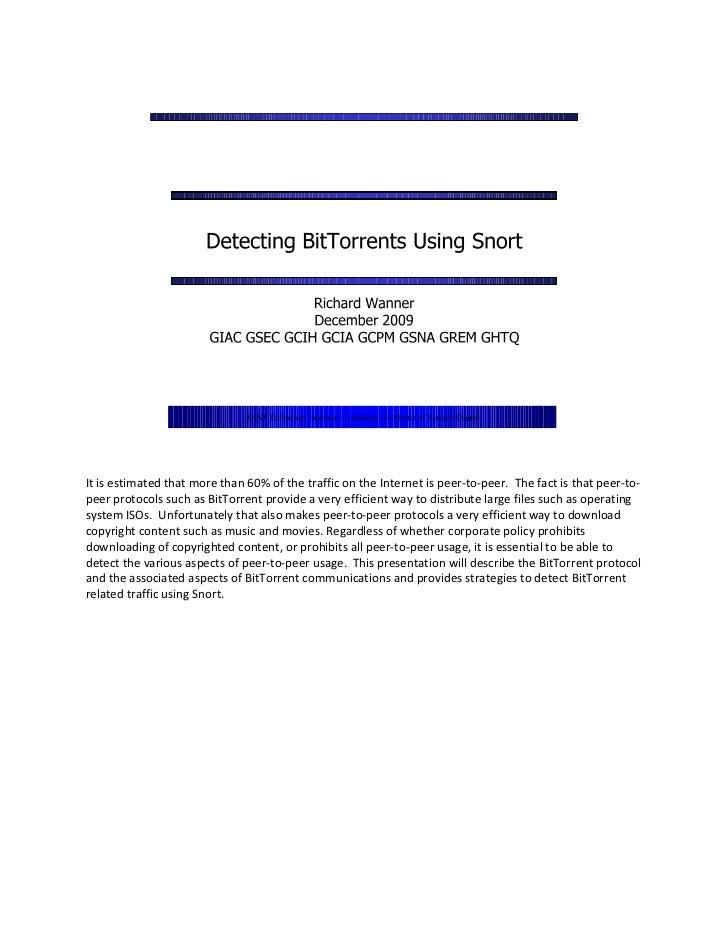 Detecting BitTorrents Using Snort