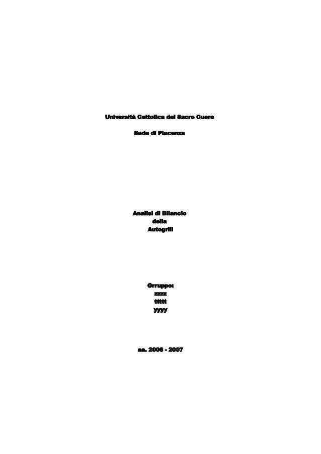 Riclassificazione Bilanci Lavoro di Gruppo Autogrill