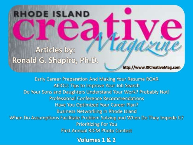 Rhode Island Creative Magazine (RICM) Articles by Ronald G. Shapiro, PhD