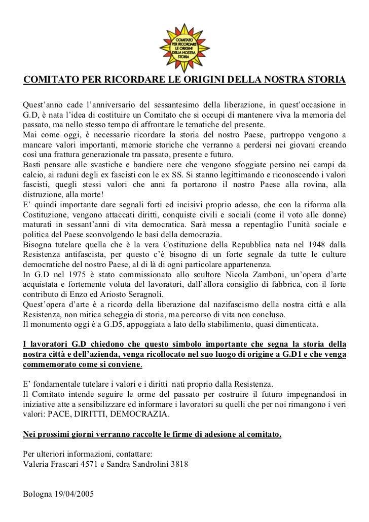 COMITATO PER RICORDARE LE ORIGINI DELLA NOSTRA STORIAQuest'anno cade l'anniversario del sessantesimo della liberazione, in...