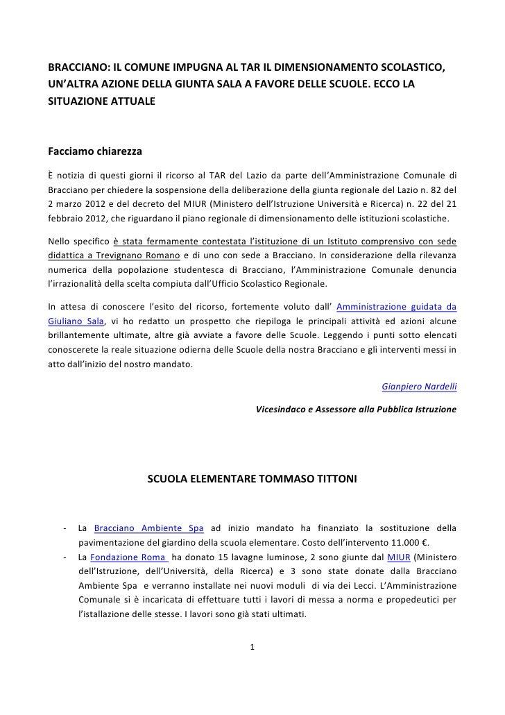 BRACCIANO: IL COMUNE IMPUGNA AL TAR IL DIMENSIONAMENTO SCOLASTICO,UN'ALTRA AZIONE DELLA GIUNTA SALA A FAVORE DELLE SCUOLE....