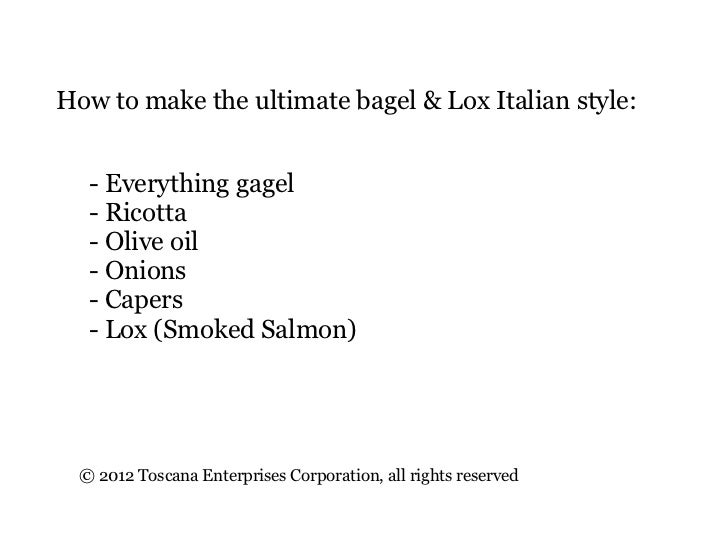 How to make the ultimate bagel & Lox Italian style:   - Everything gagel   - Ricotta   - Olive oil   - Onions   - Capers  ...