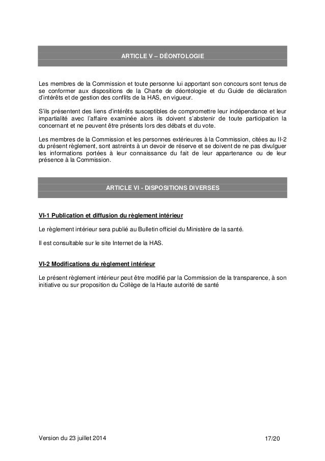 R glement int rieur de la commission de la transparence for Depot reglement interieur