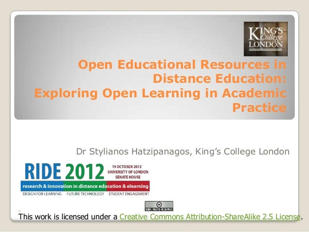 Open Educational Resources in                    Distance Education:    Exploring Open Learning in Academic               ...