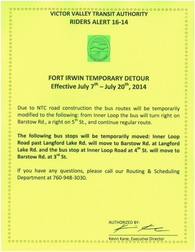 VVTA Service Alert: NTC Commuter Route Temporary Detour At Fort Irwin National Training Center From July 7-20, 2014