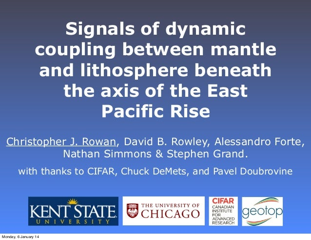 Signals of dynamic coupling between mantle and lithosphere beneath the axis of the East Pacific Rise Christopher J. Rowan,...