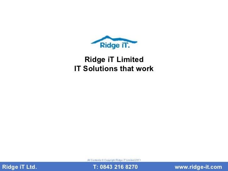 Ridge I T Limited   Security
