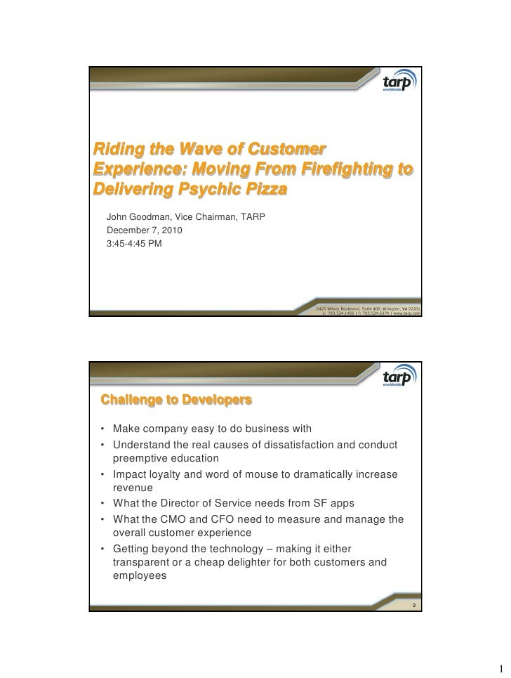 Riding the Wave of Customer Experience - ICMI @ Dreamforce 2010 Handout - John Goodman