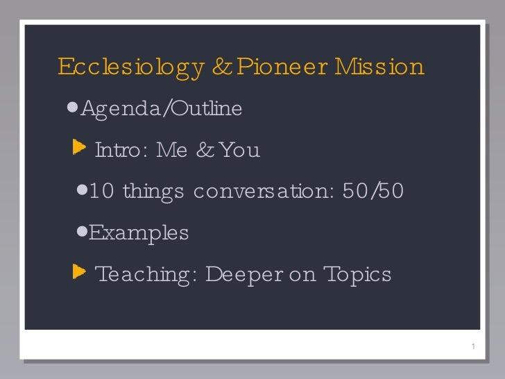 <ul><li>Agenda/Outline </li></ul><ul><ul><li>Intro: Me & You </li></ul></ul><ul><ul><li>10 things conversation: 50/50 </li...