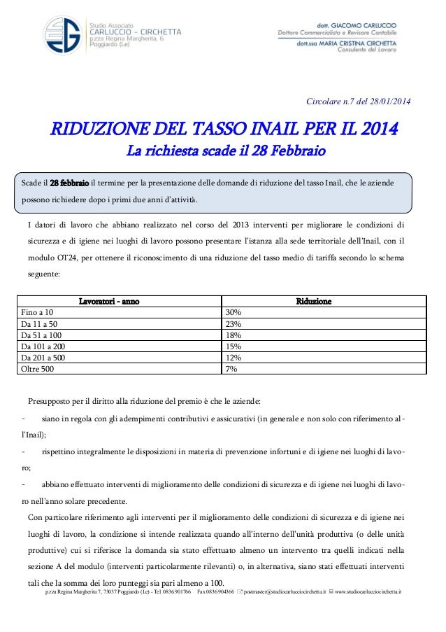 Riduzione del tasso Inail per il 2014 Circ n.7 28 gennaio 14