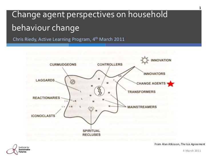 Chris Riedy, Active Learning Program, 4th March 2011<br />Change agent perspectives on household behaviour change<br />4 M...