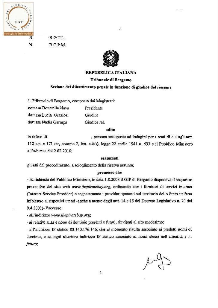 """Tribunale del Riesame di Bergamo - provvedimento 2/6.2.2010 - conferma sequestro """"thepiratebay.org"""""""