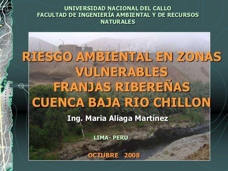 UNIVERSIDAD NACIONAL DEL CALLO  FACULTAD DE INGENIERÍA AMBIENTAL Y DE RECURSOS                    NATURALES     RIESGO AMB...