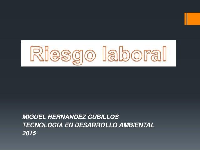 MIGUEL HERNANDEZ CUBILLOS TECNOLOGIA EN DESARROLLO AMBIENTAL 2015
