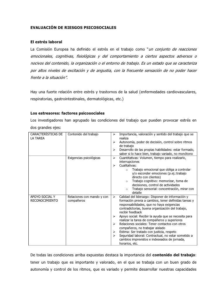 """EVALUACIÓN DE RIESGOS PSICOSOCIALESEl estrés laboralLa Comisión Europea ha definido el estrés en el trabajo como """"un conju..."""