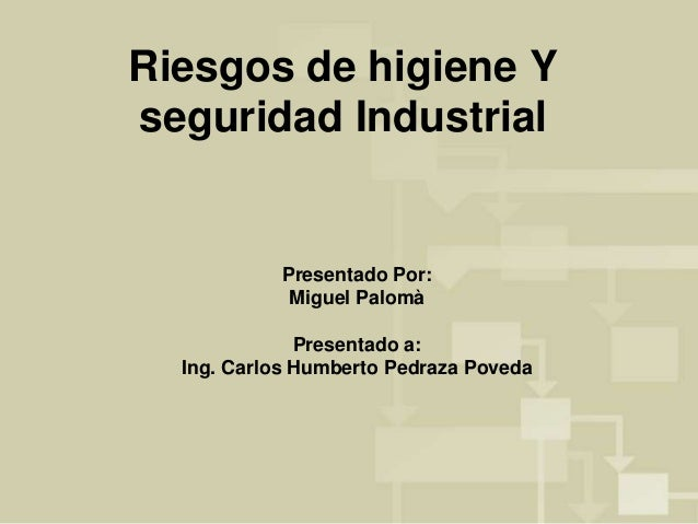 Riesgos de higiene Y  seguridad Industrial  Presentado Por:  Miguel Palomà  Presentado a:  Ing. Carlos Humberto Pedraza Po...